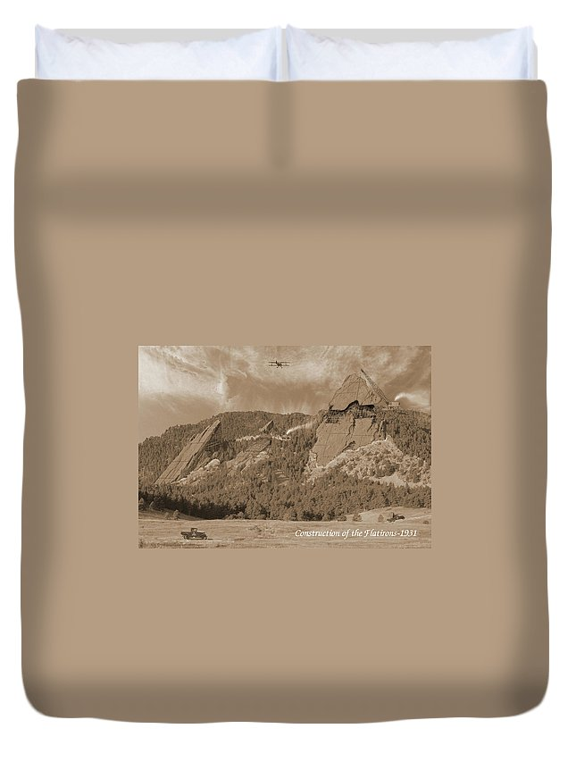 Boulder Duvet Cover featuring the photograph Construction Of The Flatirons - 1931 - Sepia by Jerry McElroy