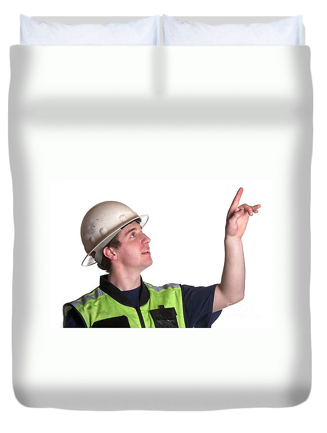 Adult Duvet Cover featuring the photograph Construction Worker In Safety Jacket by Gunter Nezhoda