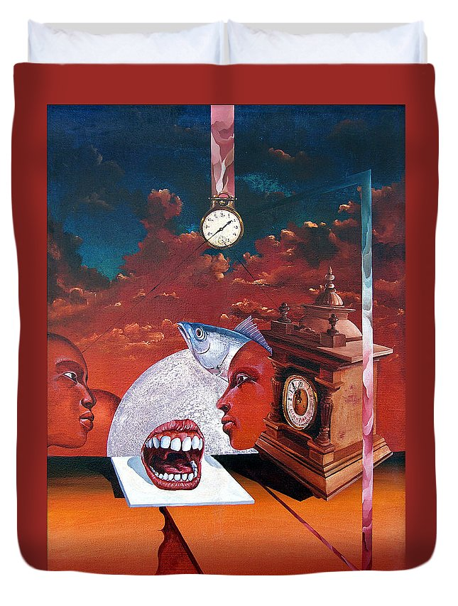 Otto+rapp Surrealism Surreal Fantasy Time Clocks Watch Consumption Duvet Cover featuring the painting Consumption Of Time by Otto Rapp