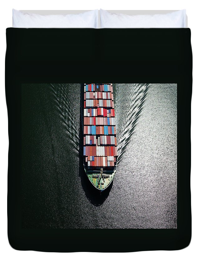 Freight Transportation Duvet Cover featuring the photograph Container Ship Bow by Dan prat