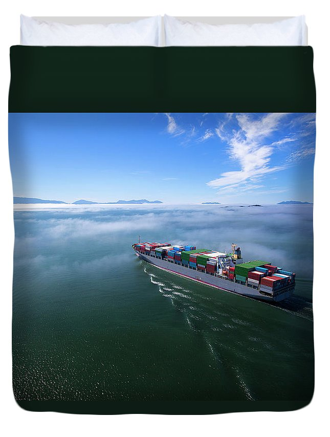 Freight Transportation Duvet Cover featuring the photograph Container Ship by Dan prat