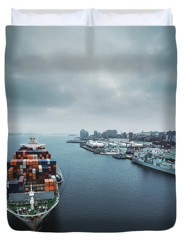 Freight Transportation Duvet Cover featuring the photograph Container Ship In Halifax Harbour by Shaunl