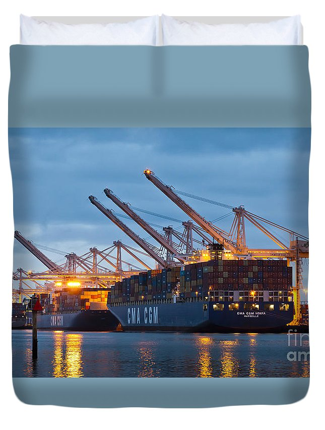 Container Ships Duvet Cover featuring the photograph Container Ships Docked In Port Of Oakland by B Christopher