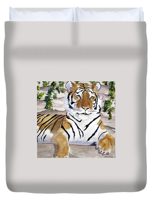 Tiger Duvet Cover featuring the painting Contemplating Dinner by Julia RIETZ