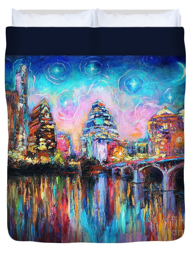 Downtown Austin Art Duvet Cover featuring the painting Contemporary Downtown Austin Art Painting Night Skyline Cityscape Painting Texas by Svetlana Novikova