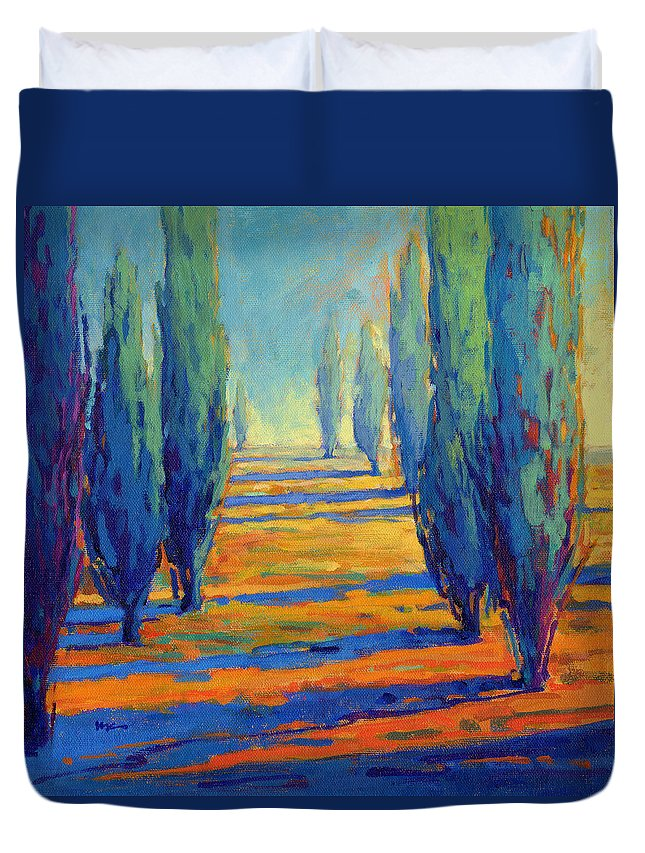 Trees Duvet Cover featuring the painting Contentment by Konnie Kim
