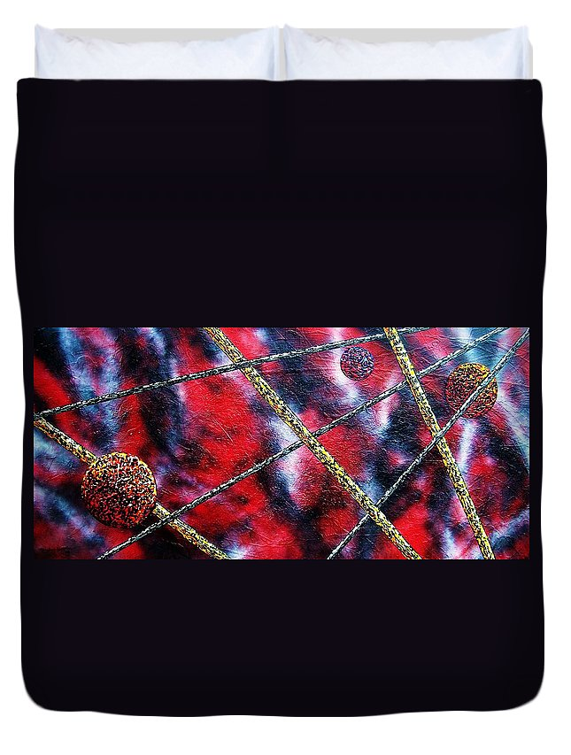 Abstract Duvet Cover featuring the painting Continuum IV red sky by Micah Guenther