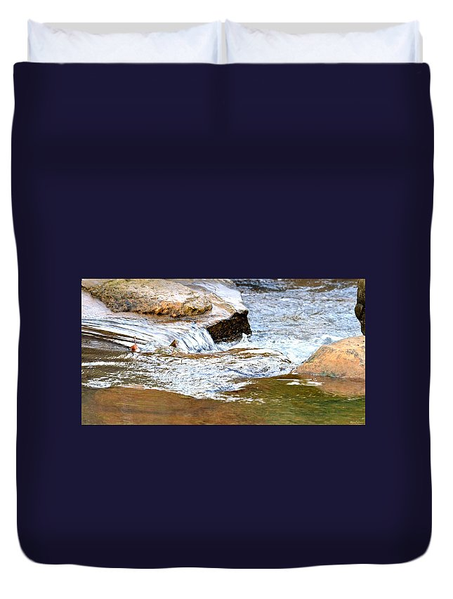 Converging Stream Water Duvet Cover featuring the photograph Converging Stream Water by Maria Urso