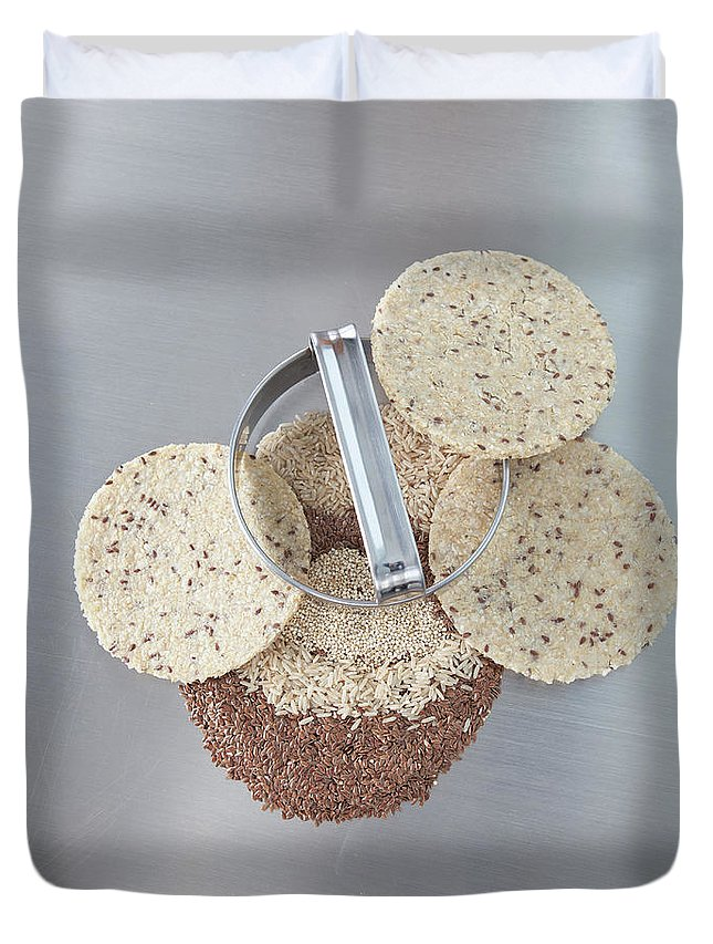 Flax Seed Duvet Cover featuring the photograph Cookie Cutter With Dough Rounds by Laurie Castelli