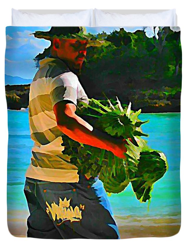 People Selling Duvet Cover featuring the painting Cool Beach Merchant by John Malone