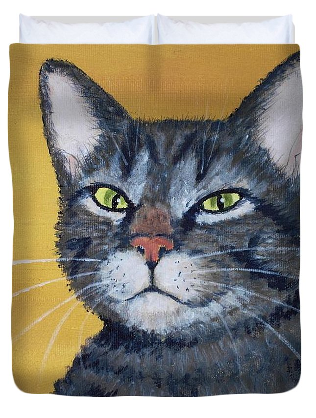 Malakhova Duvet Cover featuring the painting Cool Cat by Anastasiya Malakhova