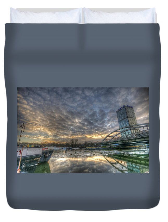 Architecture Duvet Cover featuring the digital art Cool Harbor by Nathan Wright