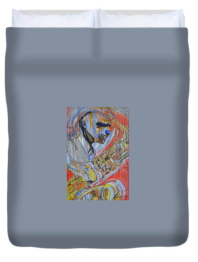 Cool Duvet Cover featuring the painting Cool Heat by Hasaan Kirkland