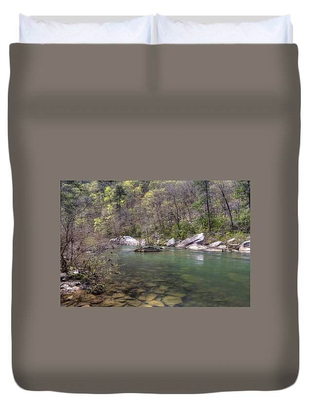 Little River Duvet Cover featuring the photograph Cool Waters by David Troxel