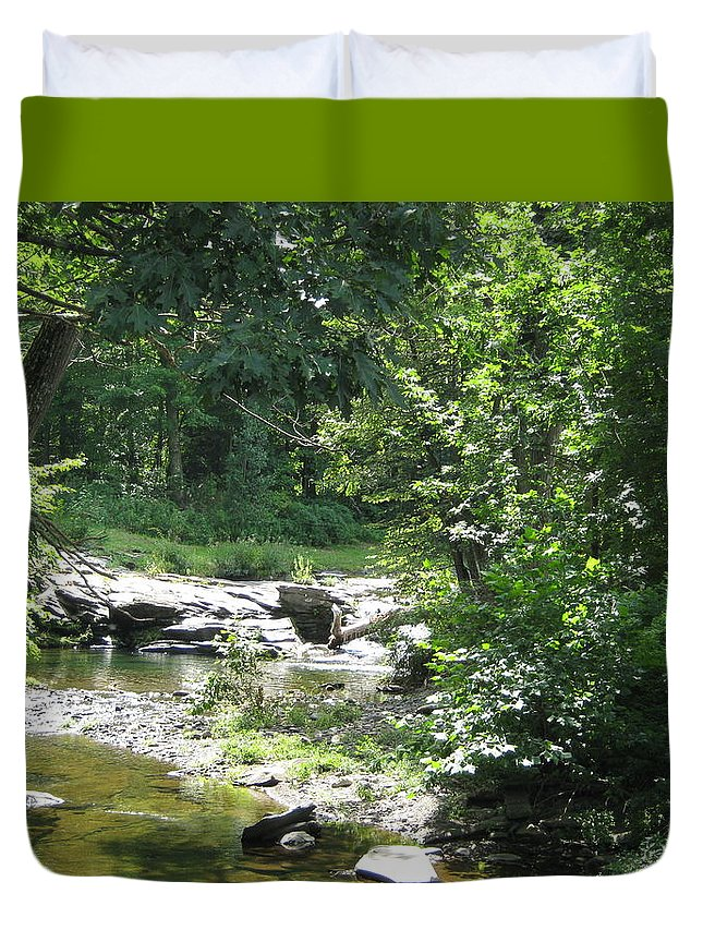 Creek Duvet Cover featuring the photograph Cool Waters II by Ellen Levinson