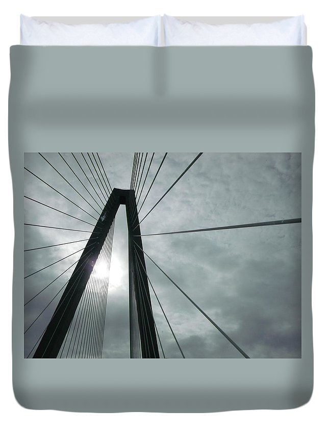 Cooper River Bridge Duvet Cover featuring the photograph Cooper River Bridge by Clyde Mayberry
