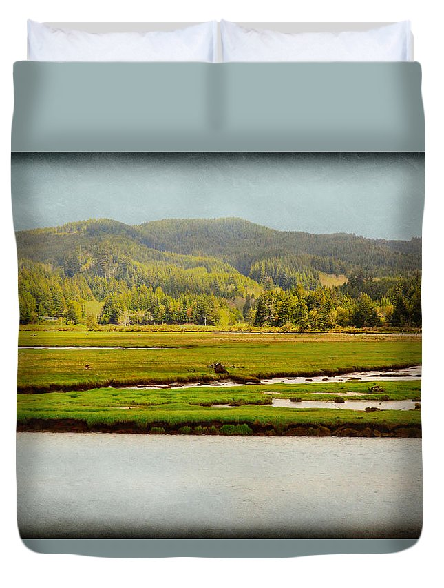 Coos Bay Duvet Cover featuring the photograph Coos River by Sally Bauer