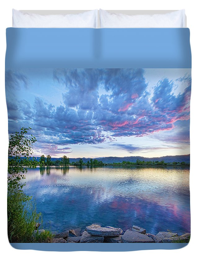 Reflections Duvet Cover featuring the photograph Coot Lake View by James BO Insogna