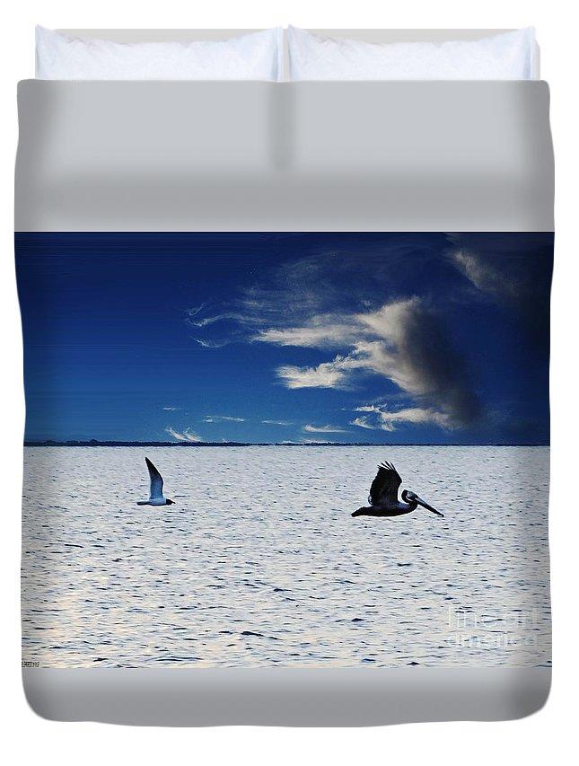 Texas Duvet Cover featuring the digital art Copano Bay Sunset Flight by Lizi Beard-Ward