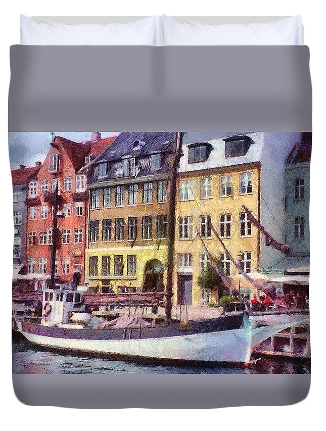Scandinavia Duvet Cover featuring the painting Copenhagen by Jeffrey Kolker