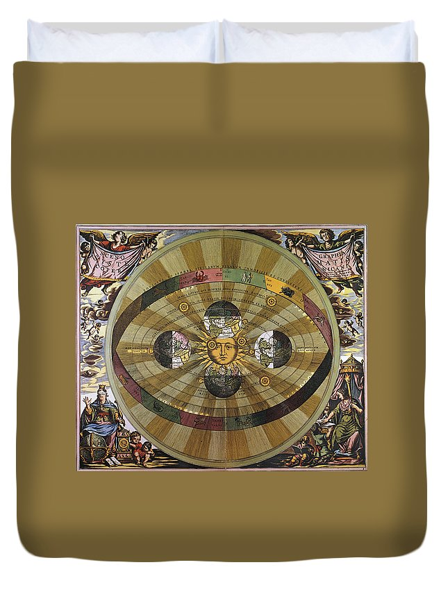17th Century Duvet Cover featuring the photograph Copernican Universe by Granger