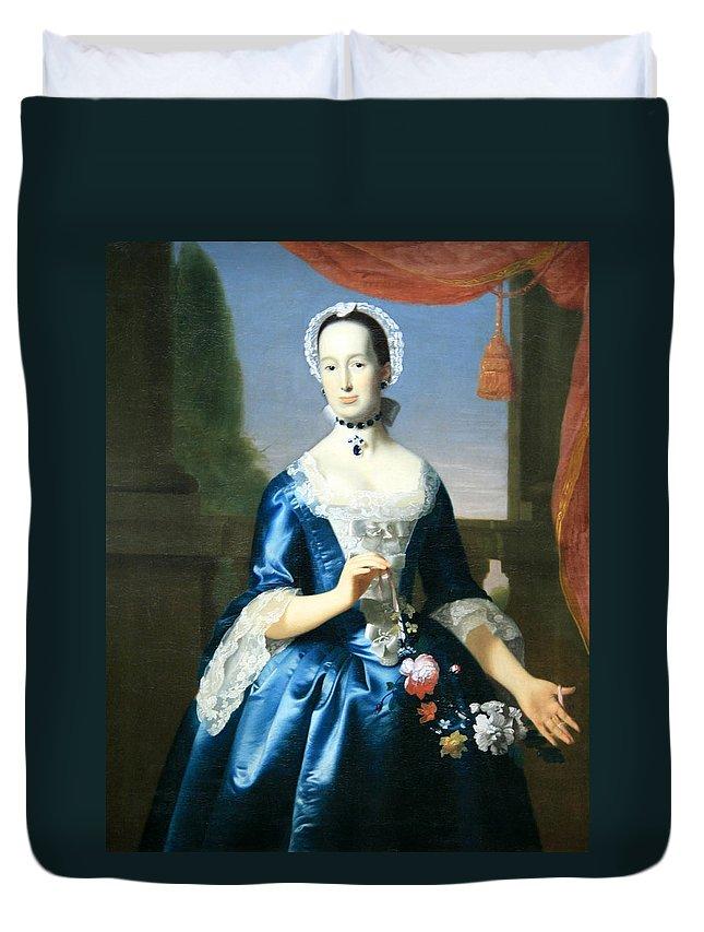 Anne Fairchild Bowler Duvet Cover featuring the photograph Copley's Anne Fairchild Bowler -- Mrs. Metcalf Bowler by Cora Wandel