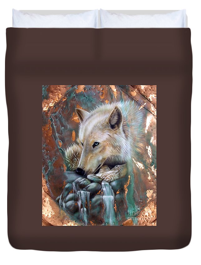 Copper Duvet Cover featuring the painting Copper Arctic Wolf by Sandi Baker