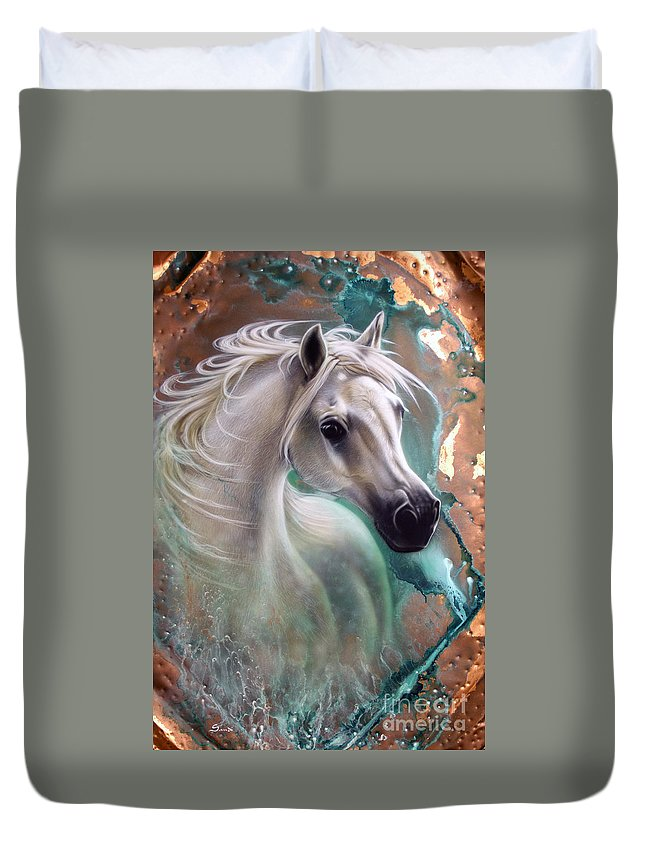 Copper Duvet Cover featuring the painting Copper Grace - Horse by Sandi Baker