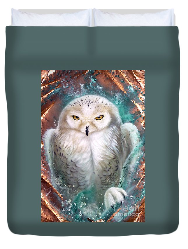 Copper Duvet Cover featuring the painting Copper Snowy Owl by Sandi Baker