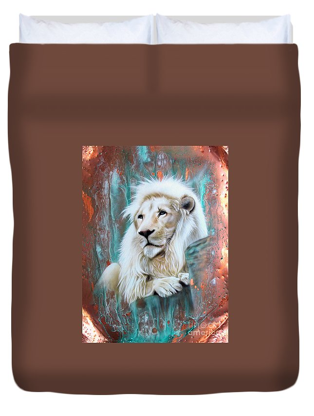 Copper Duvet Cover featuring the painting Copper White Lion by Sandi Baker