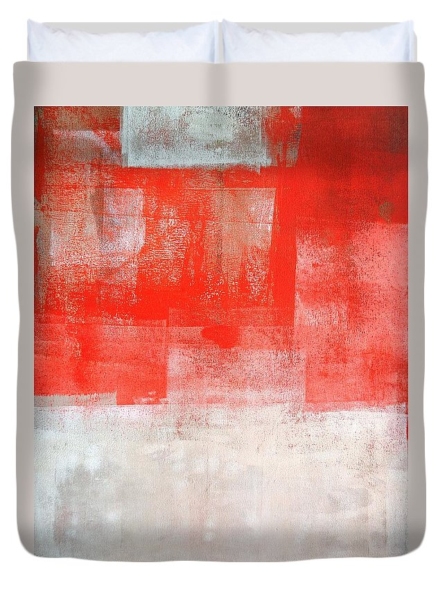 Orange Duvet Cover featuring the painting Tinted - Beige And Coral Abstract Art Painting by CarolLynn Tice