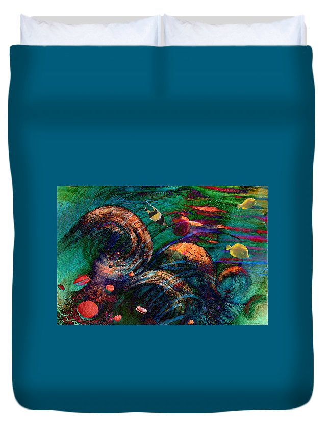 Coral Reef Duvet Cover featuring the digital art Coral Reef 2 by Lisa Yount