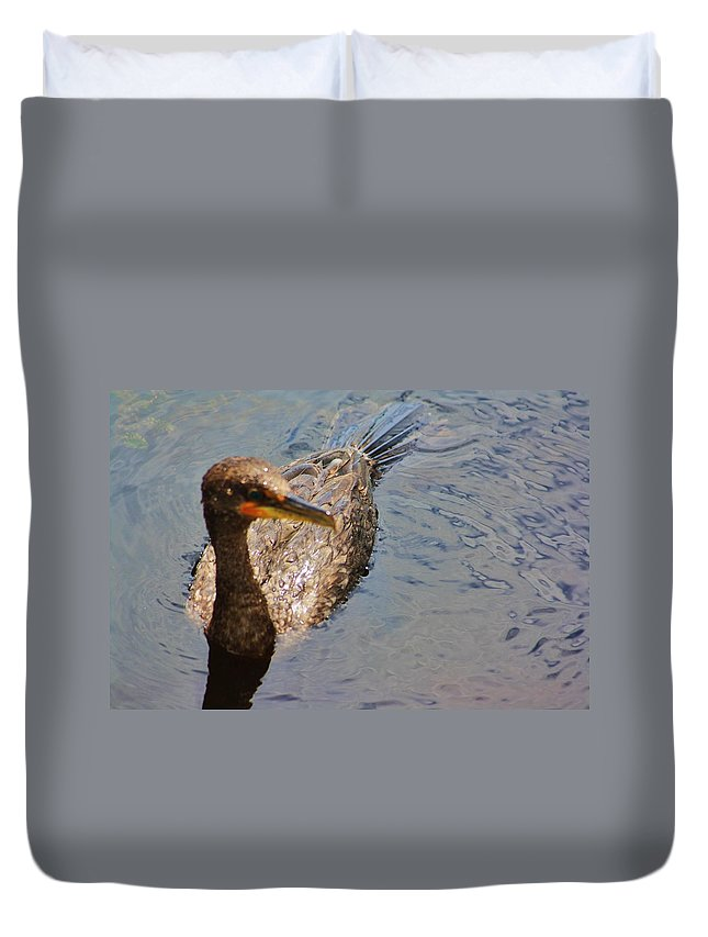 Cormorant Duvet Cover featuring the photograph Cormorant After A Swim by Chuck Hicks