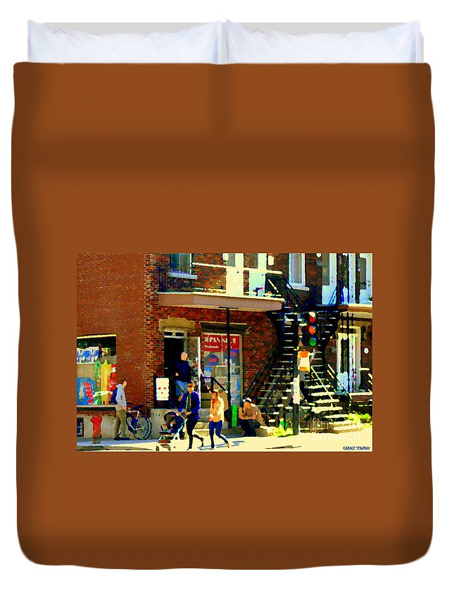 Convenience Stores Duvet Cover featuring the painting Corner Laurier Marche Maboule Depanneur Summer Stroll With Baby Carriage Montreal Street Scene by Carole Spandau