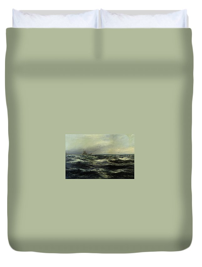 Cornish Sea And Working Boat Duvet Cover featuring the digital art Cornish Sea And Working Boat by Charles William Hemy