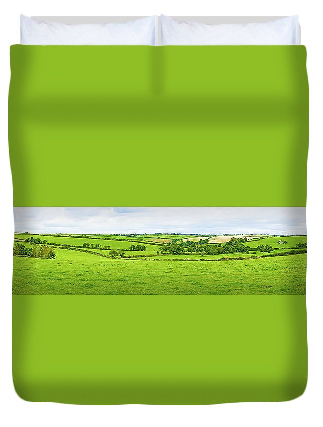 Panoramic Duvet Cover featuring the photograph Cornwall Panorama Color by Chevy Fleet