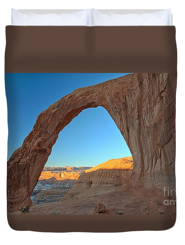 Corona Arch Duvet Cover featuring the photograph Corona Just Before Sunrise by Adam Jewell