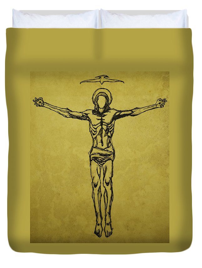 Christ Duvet Cover featuring the drawing Corpus Christi And Dove by Daniel P Cronin