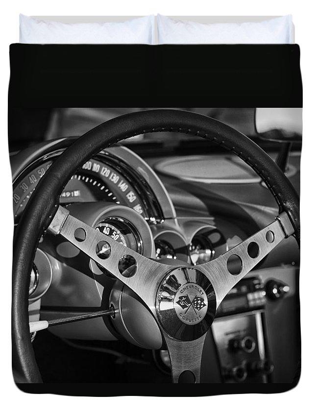 Chevrolet Duvet Cover featuring the photograph Corvette Cockpit by Debby Richards