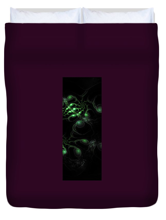 Corporate Duvet Cover featuring the digital art Cosmic Alien Eyes Original 2 by Shawn Dall
