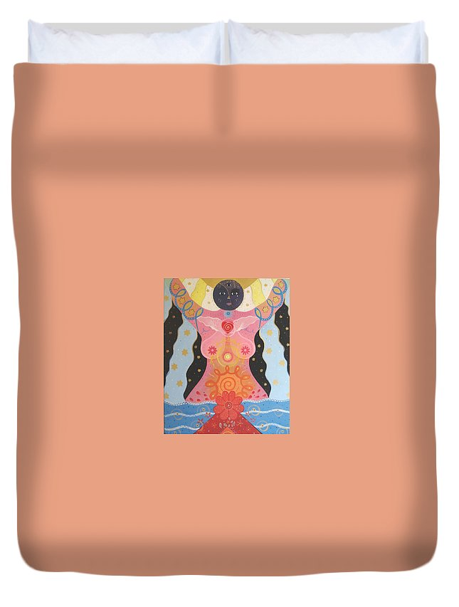 Goddess Duvet Cover featuring the painting Cosmic Carnival I V Aka Creation by Helena Tiainen