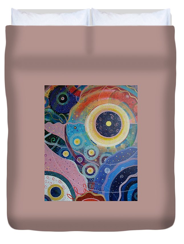 Circles Duvet Cover featuring the painting Cosmic Carnival Vl Aka Circles by Helena Tiainen