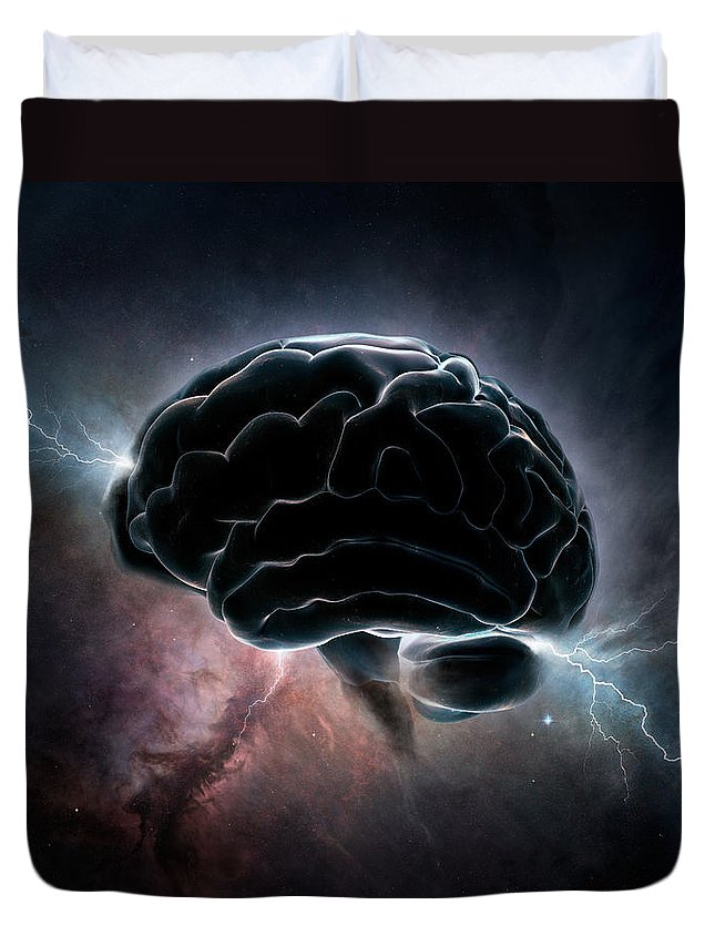 Brain Duvet Cover featuring the digital art Cosmic Intelligence by Johan Swanepoel