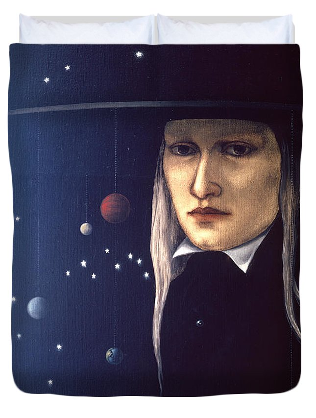 Cosmic Duvet Cover featuring the painting Cosmic Pilgrim by Jane Whiting Chrzanoska