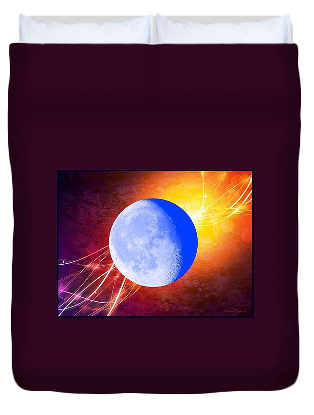 Moon Duvet Cover featuring the mixed media Cosmic Rhythm - Within Border by Leanne Seymour