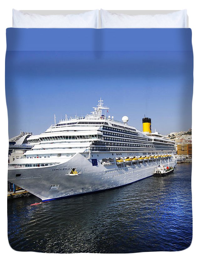 Cruise Ship Duvet Cover featuring the photograph Costa Cruise Ship by Stefano Senise
