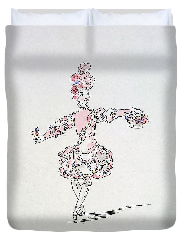 Costume Duvet Cover featuring the drawing Costume Design For A Young Egyptian Dressed As Spring by French School