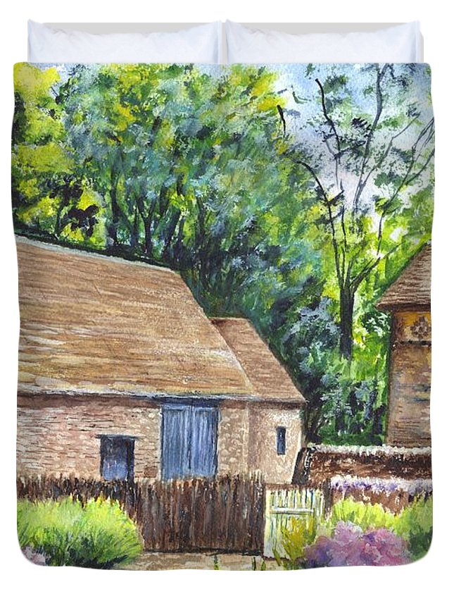 Barn Duvet Cover featuring the painting Cotswold Barn by Carol Wisniewski