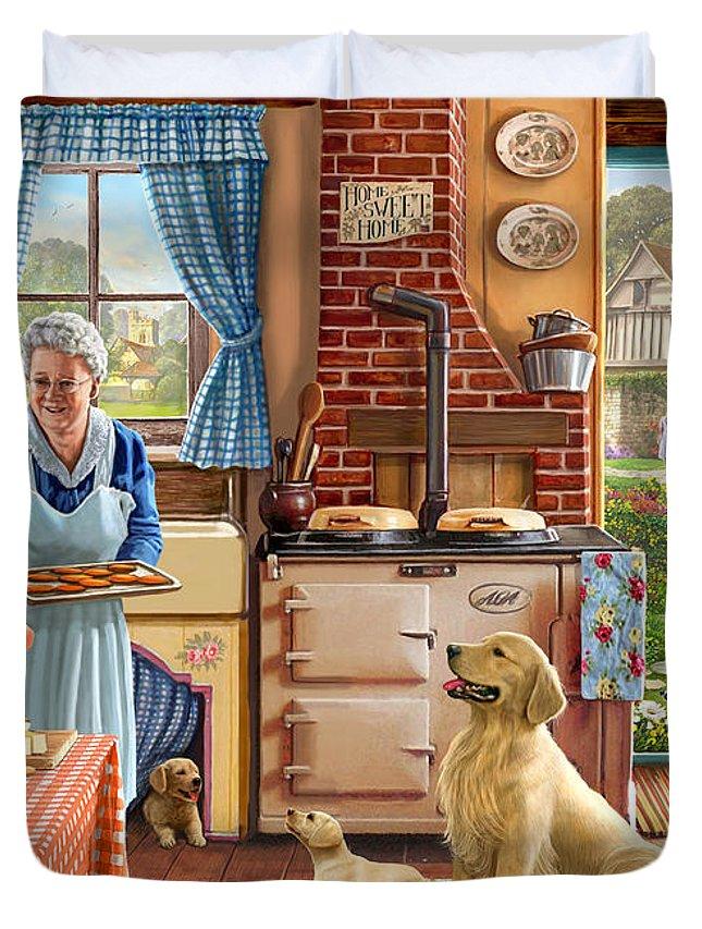 Grandma Duvet Cover featuring the digital art Cottage Interior by Steve Crisp