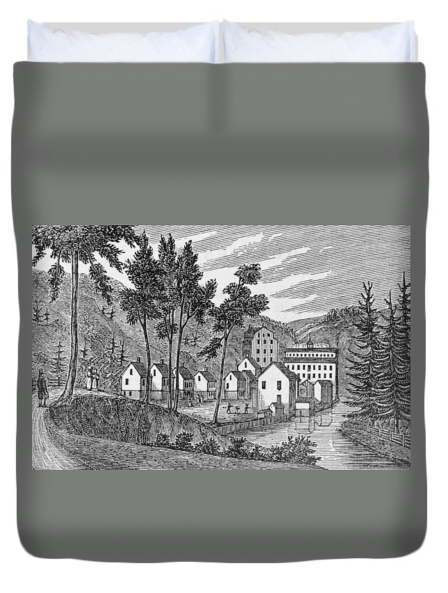 River Duvet Cover featuring the photograph Cotton Factory Village, Glastenbury, From Connecticut Historical Collections, By John Warner by American School